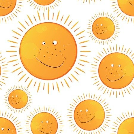 unny smiling sun in the seamless pattern
